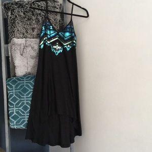 Express Sequin Hi-Low Black Dress